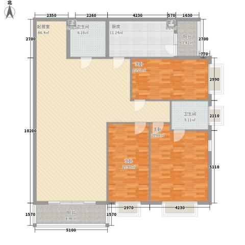 都市胜景3室0厅2卫1厨206.00㎡户型图