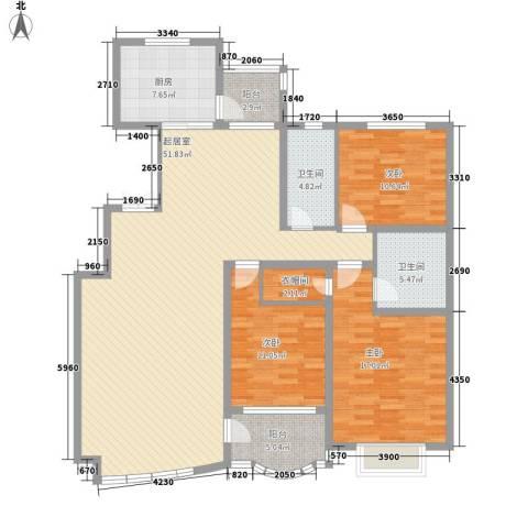 南郡水云天3室0厅2卫1厨161.00㎡户型图