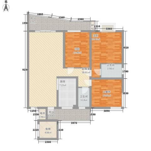 乐天花园3室0厅2卫1厨165.00㎡户型图