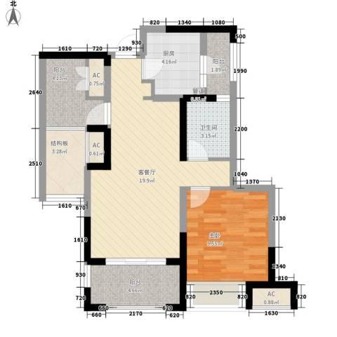 金地格林世界城市公馆1室1厅1卫1厨82.00㎡户型图