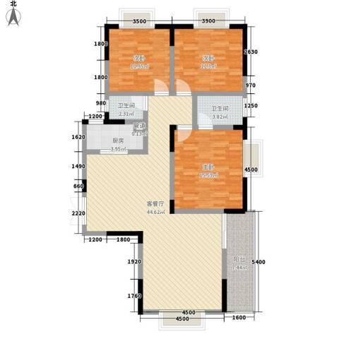 宏泽佳园3室1厅2卫1厨144.00㎡户型图