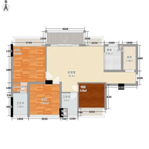 黄旗印象3室0厅2卫1厨98.00㎡户型图