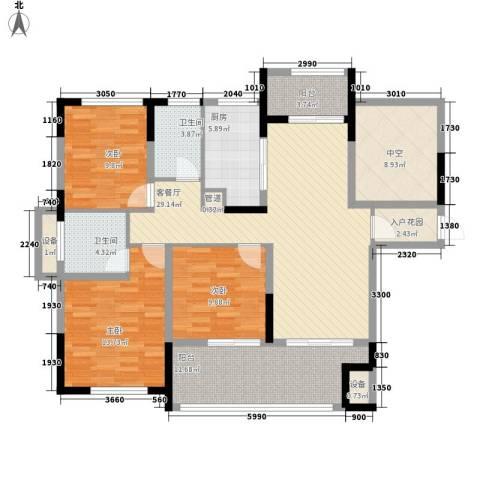 宣佳世纪嘉园3室1厅2卫1厨125.00㎡户型图