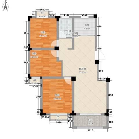 尚泽时代广场3室0厅1卫1厨100.00㎡户型图