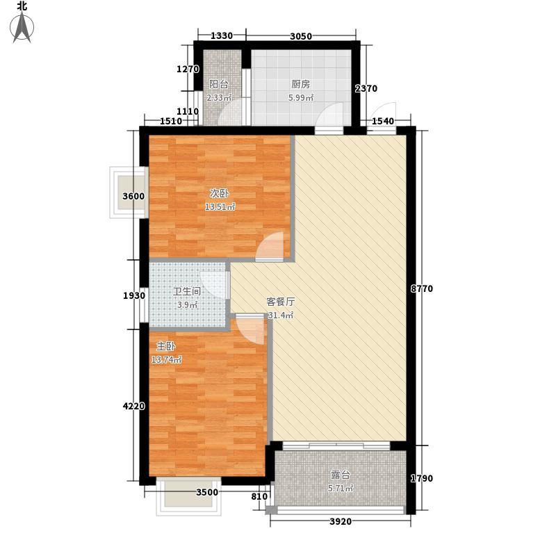 普锦左岸春天6.36㎡E2户型2室2厅1卫1厨