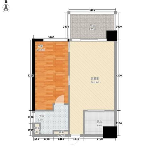 锦绣香江布查特国际公寓1室0厅1卫1厨88.00㎡户型图