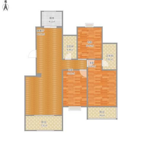 万达高尔夫花园3室1厅2卫1厨143.00㎡户型图