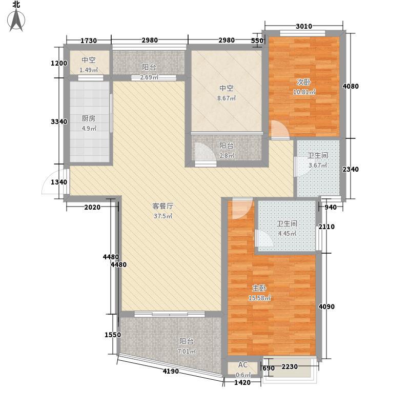 华宇尚城114.70㎡一期11#、12#楼端户D5户型2室2厅2卫1厨