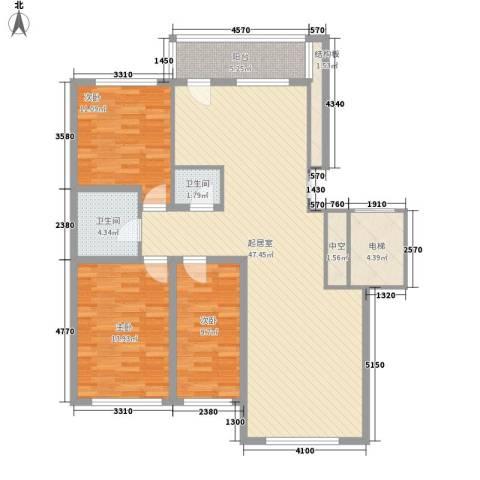 先行国际3室0厅2卫0厨147.00㎡户型图