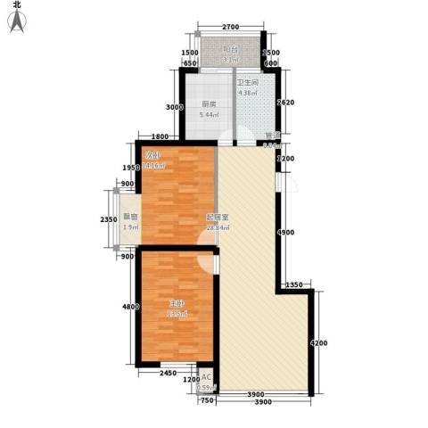 新城雅苑二期2室0厅1卫1厨97.00㎡户型图