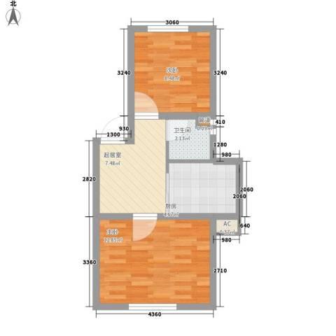 金泰嘉园2室0厅1卫1厨53.00㎡户型图