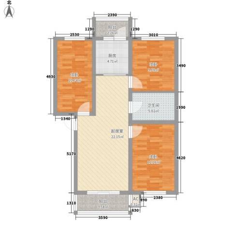 金泰嘉园3室0厅1卫1厨102.00㎡户型图