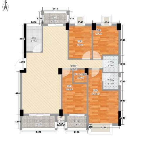 海滨壹号4室1厅2卫1厨121.00㎡户型图