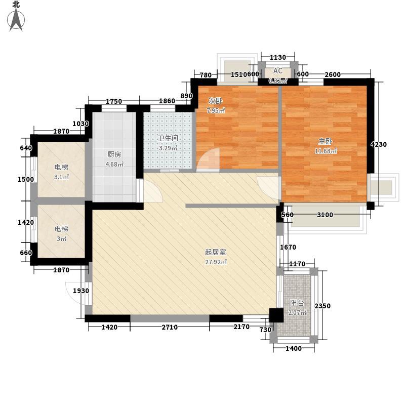 公园水岸观邸11.47㎡A户型2室2厅1卫1厨