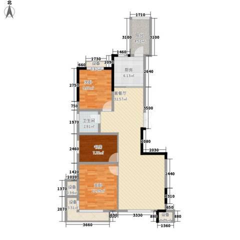 民贵家园3室1厅1卫1厨91.00㎡户型图