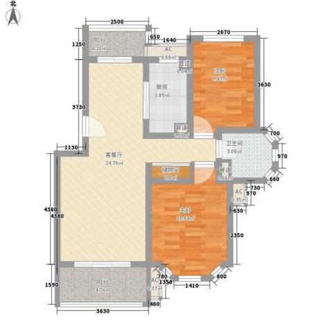 宝地绿洲城南区2室1厅1卫1厨89.00㎡户型图