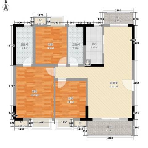 海逸・锦绣公馆3室0厅2卫1厨114.00㎡户型图