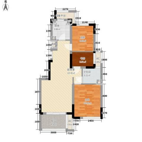 巴比伦国际广场3室0厅1卫1厨90.00㎡户型图