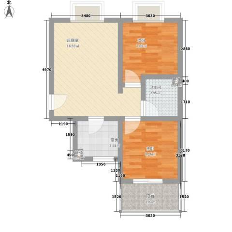灞柳运谭新城2室0厅1卫1厨64.00㎡户型图