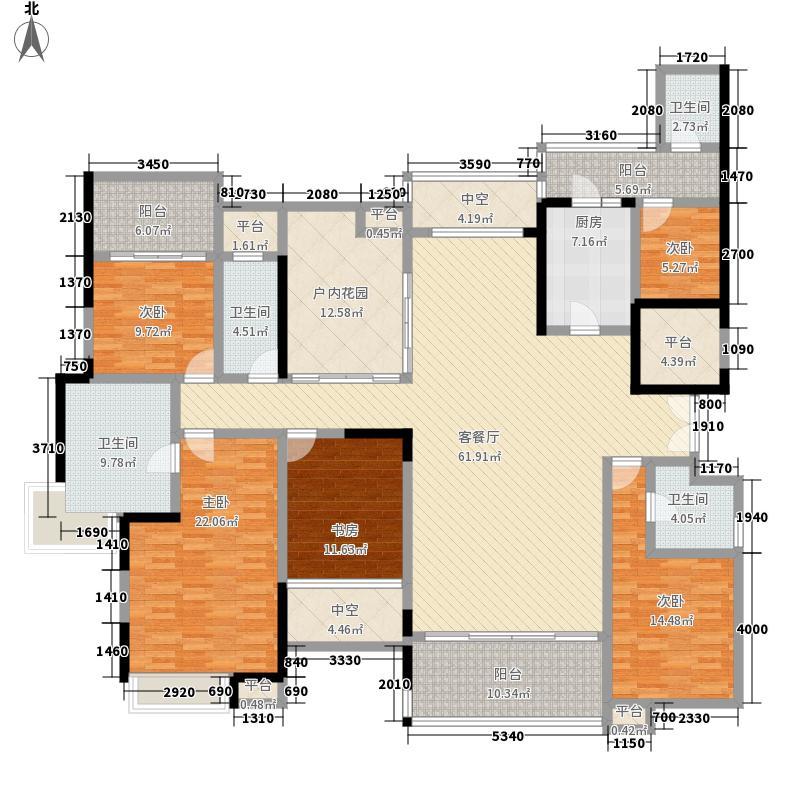 鸿景翠峰户型图6栋A/B单位 4室2厅4卫1厨