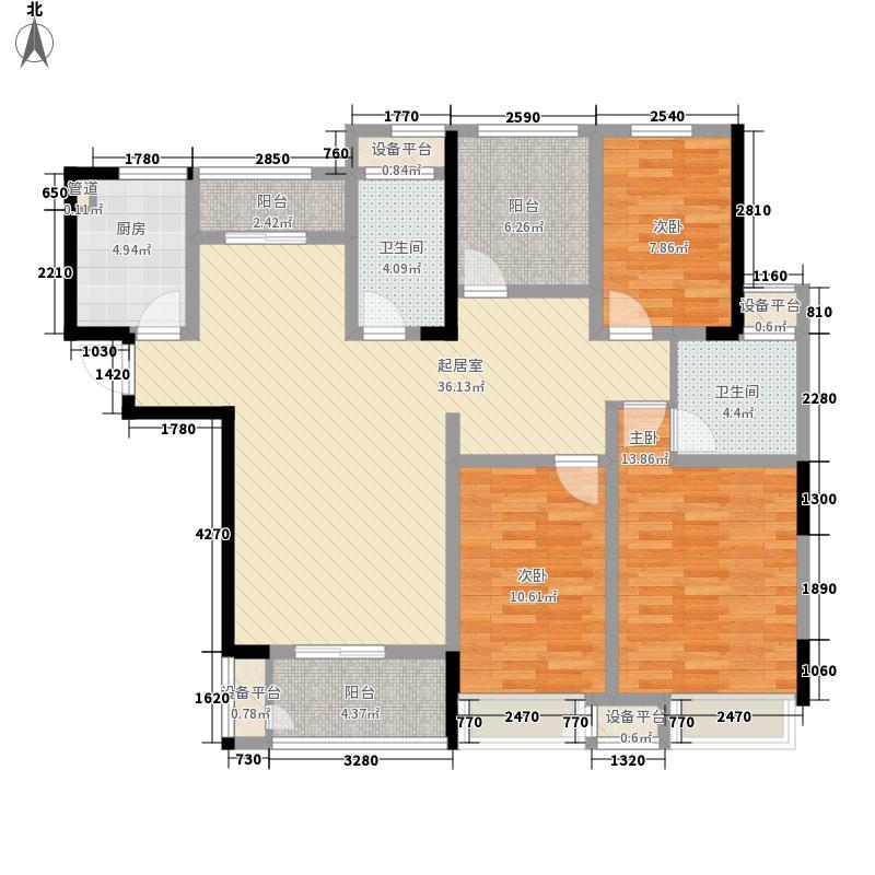 港龙紫荆城142.60㎡5#楼F1户型3室2厅