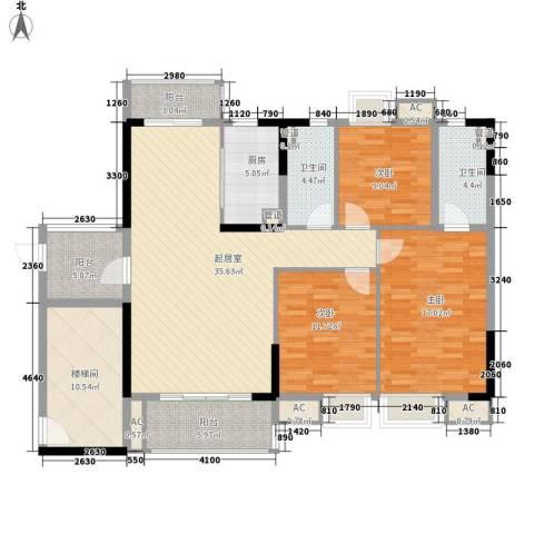 海逸・锦绣公馆3室0厅2卫1厨121.00㎡户型图