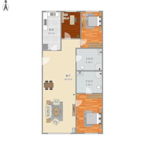 天通苑东三区3室1厅2卫1厨125.00㎡户型图
