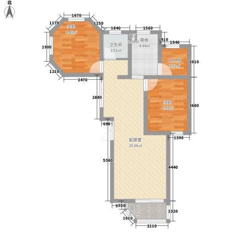 东方新城2室0厅1卫1厨83.00㎡户型图