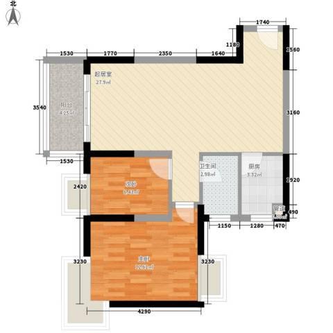 鸿运・凯旋国际2室0厅1卫1厨82.00㎡户型图