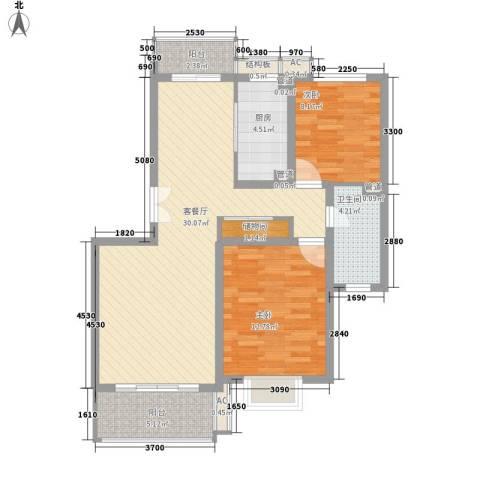宝地绿洲城南区2室1厅1卫1厨102.00㎡户型图