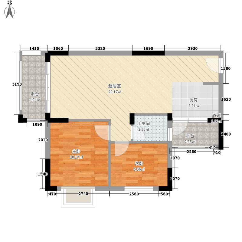振宁阳光康城77.40㎡七号楼B2户型2室2厅1卫1厨
