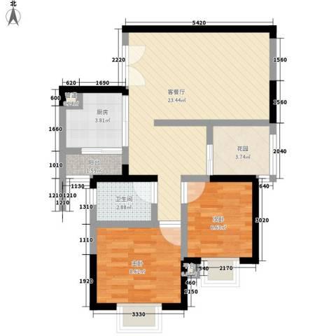 澄江广场2室1厅1卫1厨75.00㎡户型图