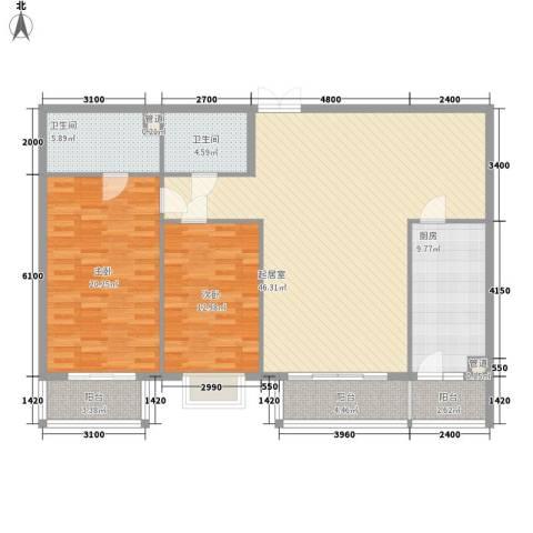 都市胜景2室0厅2卫1厨153.00㎡户型图