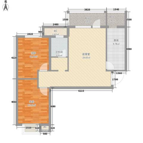 金融街・金色漫香郡2室0厅1卫1厨88.00㎡户型图