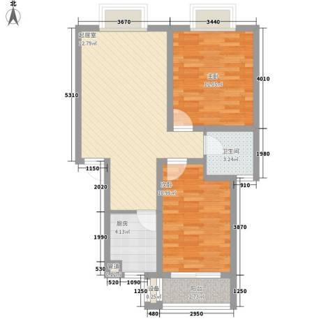 上海花园2室0厅1卫1厨82.00㎡户型图
