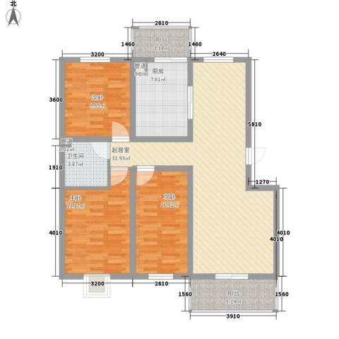 灞柳运谭新城3室0厅1卫1厨123.00㎡户型图