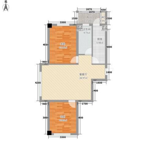 瑞盛佳园2室1厅1卫1厨67.00㎡户型图