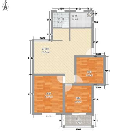 上海花园3室0厅1卫1厨95.00㎡户型图