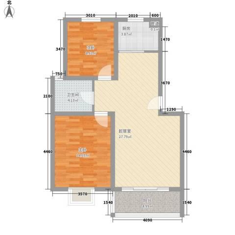 上海花园2室0厅1卫1厨85.00㎡户型图