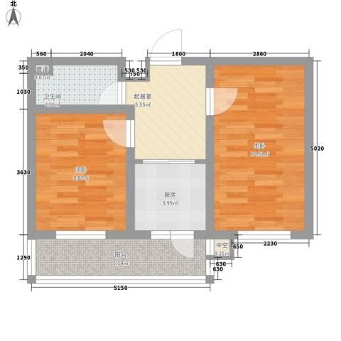 金泰嘉园2室0厅1卫1厨58.00㎡户型图