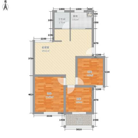 上海花园3室0厅1卫1厨88.00㎡户型图