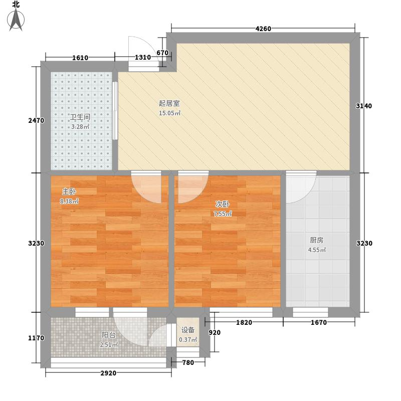 东方波尔多60.00㎡东方波尔多户型图1、2、3、7、12#楼H2户型2室1厅1卫1厨户型2室1厅1卫1厨