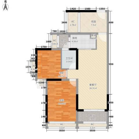 城市假日E区2室1厅1卫1厨79.00㎡户型图