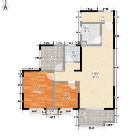 树高卡地亚2室1厅1卫1厨87.00㎡户型图