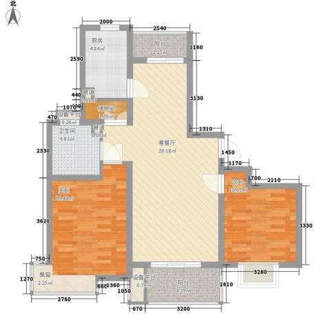 三湘四季花城四期玉兰苑2室1厅1卫1厨104.00㎡户型图
