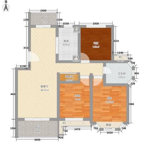 宝地绿洲城南区3室1厅1卫1厨108.00㎡户型图