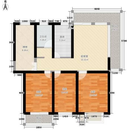 金榜华庭3室0厅1卫1厨118.00㎡户型图