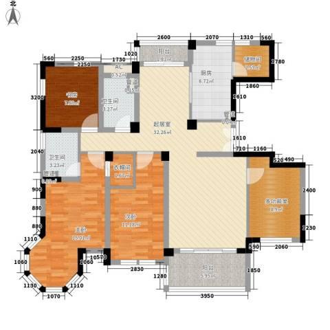 当代清水园3室0厅2卫1厨148.00㎡户型图