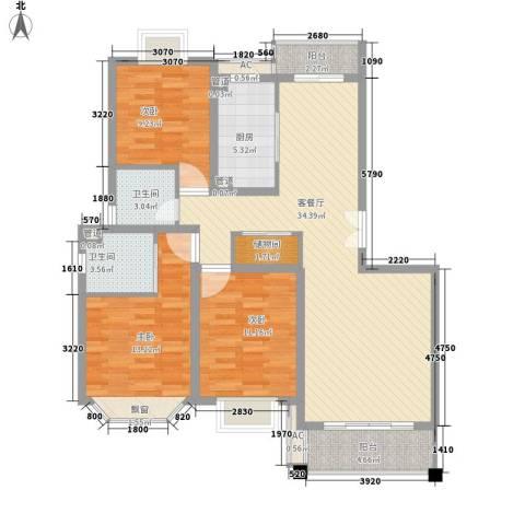 宝地绿洲城南区3室1厅2卫1厨130.00㎡户型图