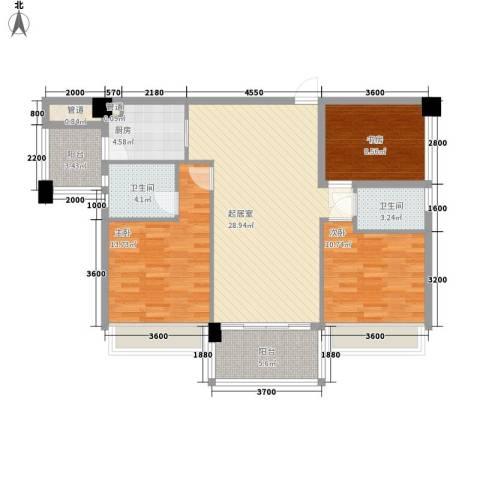 黄旗印象3室0厅2卫1厨97.00㎡户型图